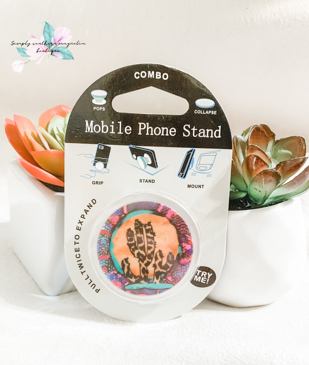 Leopard cactus phone grip and stand