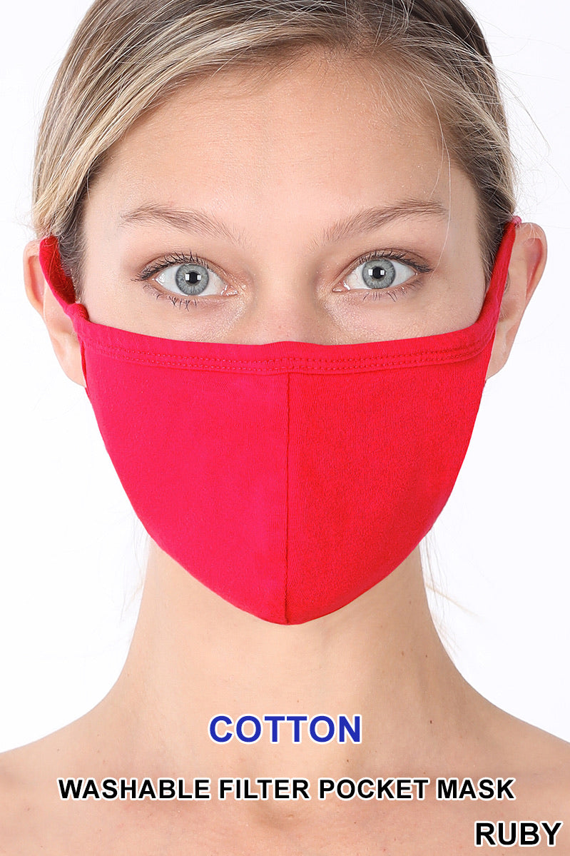 Adult - Red Face Mask w/Pocket for filter