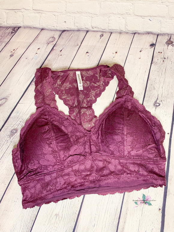 Lacey Bralette - Eggplant (w/Pads)