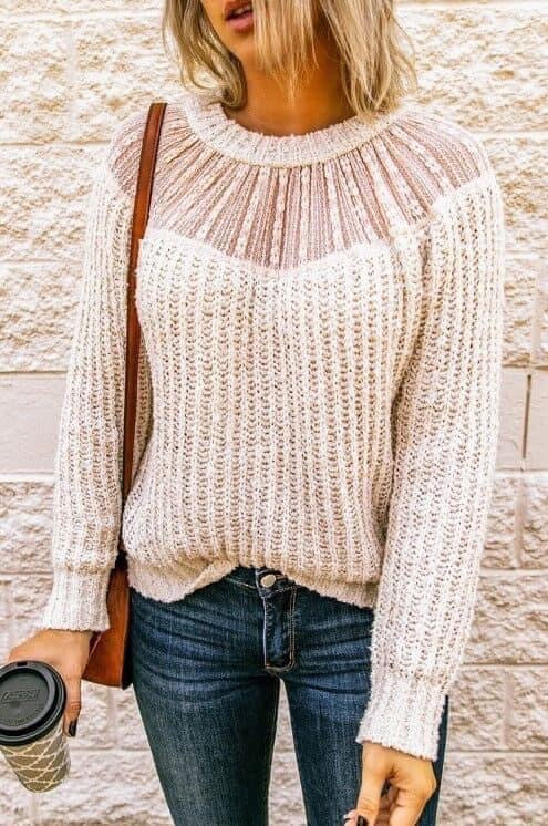 Lace Contrast Sweater - 3 color choices
