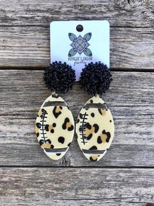 Leopard Football with Black Pom Earrings