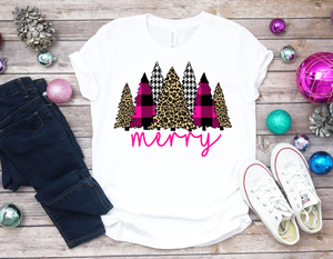 Merry leopard, pink buffalo plaid Christmas trees (2)