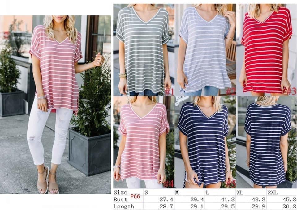 Meredith Striped Short Sleeve Top