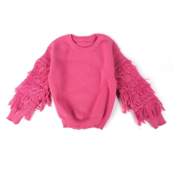 Kids hot pink fringe sweater (Preorder)