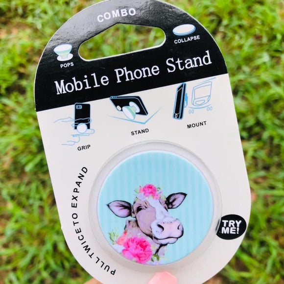 Floral cow phone grip and stand