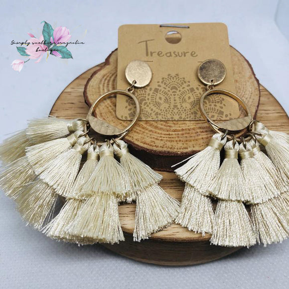 Stacked Fringe Earrings - Cream