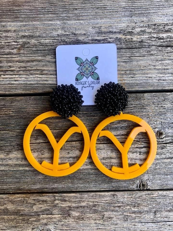 Yellowstone Rounds with Pom Poms Earrings