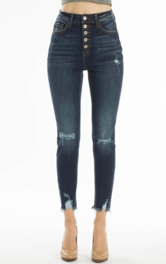 Kan Can High Rise Button Fly Ankle Skinny Jeans
