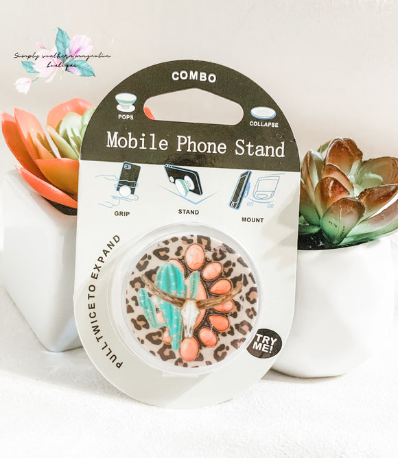 Leopard, cactus, and bull horn phone grip and stand