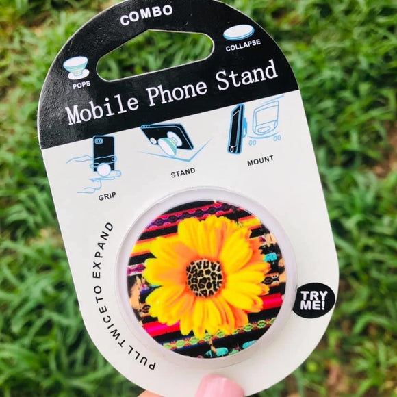 Serape leopard sunflower phone grip and stand