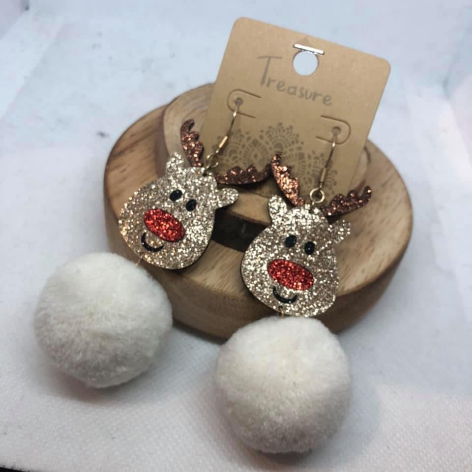 Reindeer Pom Pom Earrings
