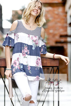 Load image into Gallery viewer, Floral & Stripes Cold Shoulder Top