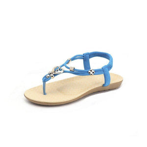Bohemia Heart Shaped Beaded Clip Toe Flip Flops Flat Sandals