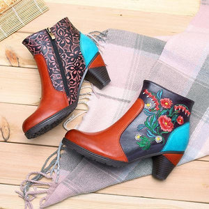 Women's Handmade Retro Blossom Embroidery Pattern Side Zipper Block Heel Shoes