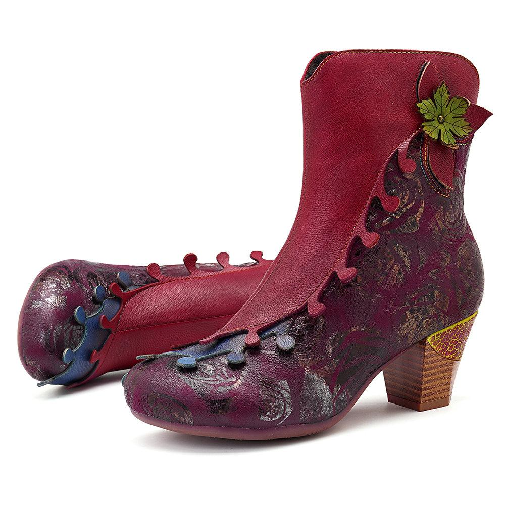 Vintage Pattern Splicing Genuine Leather Floral Zipper Comfortable Ankle Boots