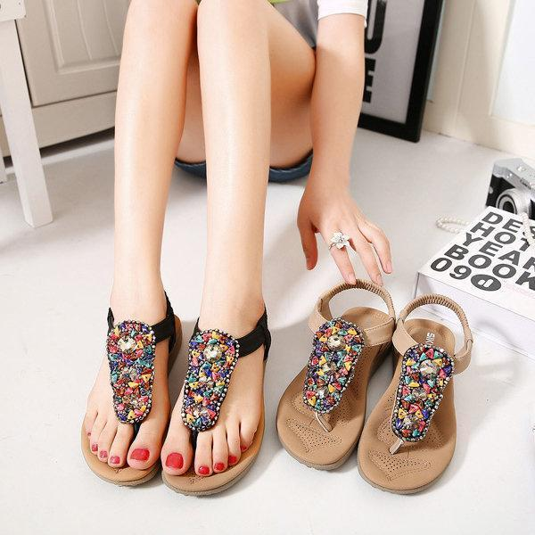 Beading Artificial Stone Colorful Elastic Flat Beach Sandals
