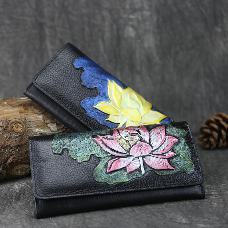 Vintage Genuine Leather Hand-Painted Lotus  Long Wallets