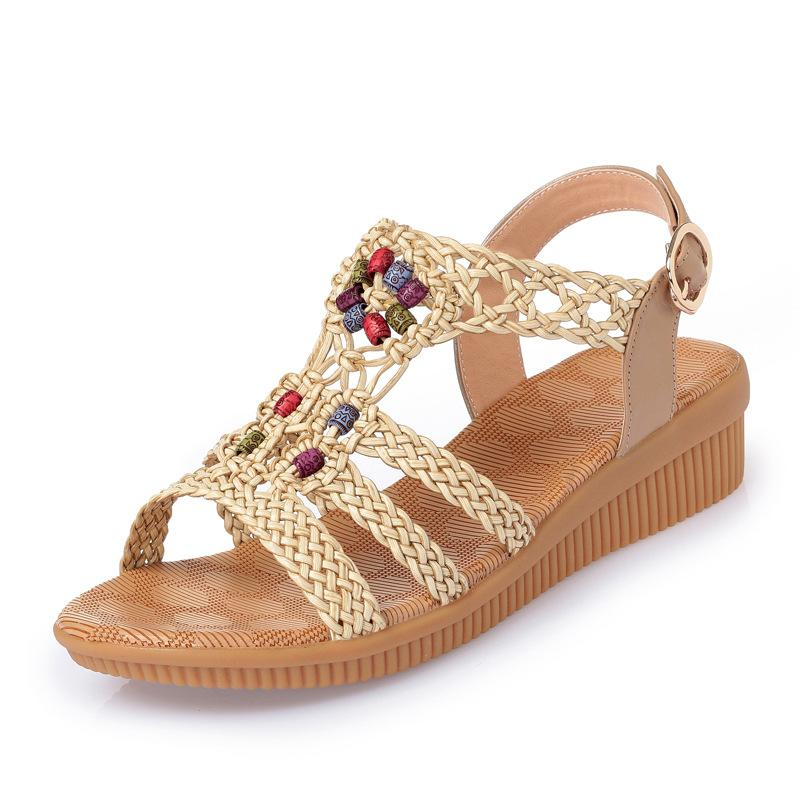 2019 Bohemian Casual Large Size Wedge Heel Sandals