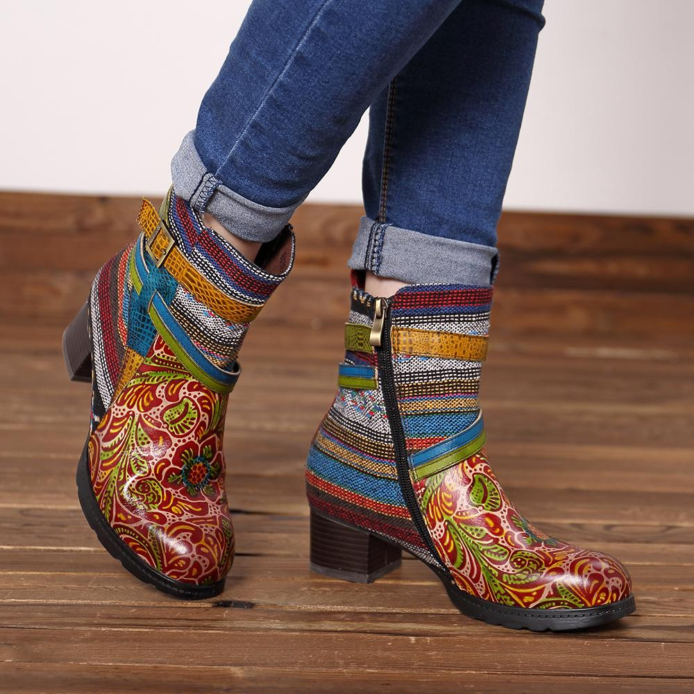 Bohemia Genuine Leather Stripe Buckle Low Heel Zipper Ankle Boots