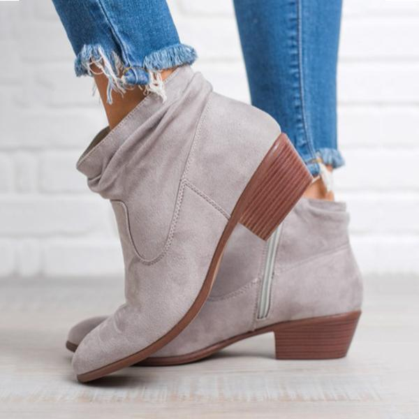 547648cafbb6 Women a Fashion Low Heel Side Zip Ankle Boots
