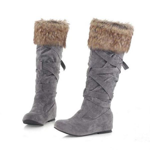 Women's Flocking Long Tube Warm  Snow Boots