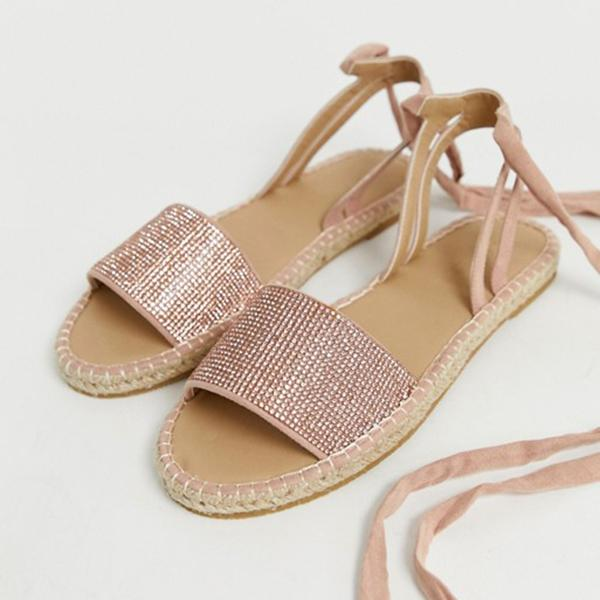 Women's Fashion Rhinestone Lace-up Flat Sandals
