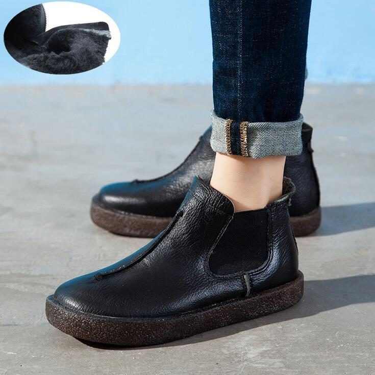 Women Retro British Style Genuine Leather Flat Ankle Boots