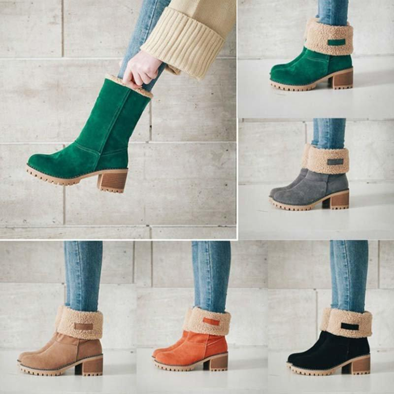 Women's Winter Short Boots Round Toe Suede Chunky Low Heel  Warm Ankle Snow Booties
