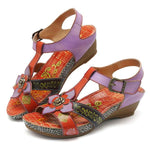 Genuine Leather Printing Flower Hook Loop Casual Flat Sandals