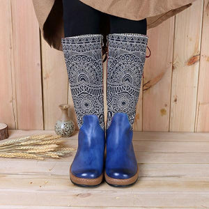 Bohemian Splicing Pattern Kept Warm Flat Leather Knee Boots