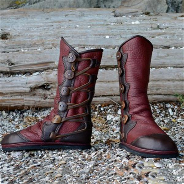 Women's Vintage Hand Stitching Side Button Leather Boots