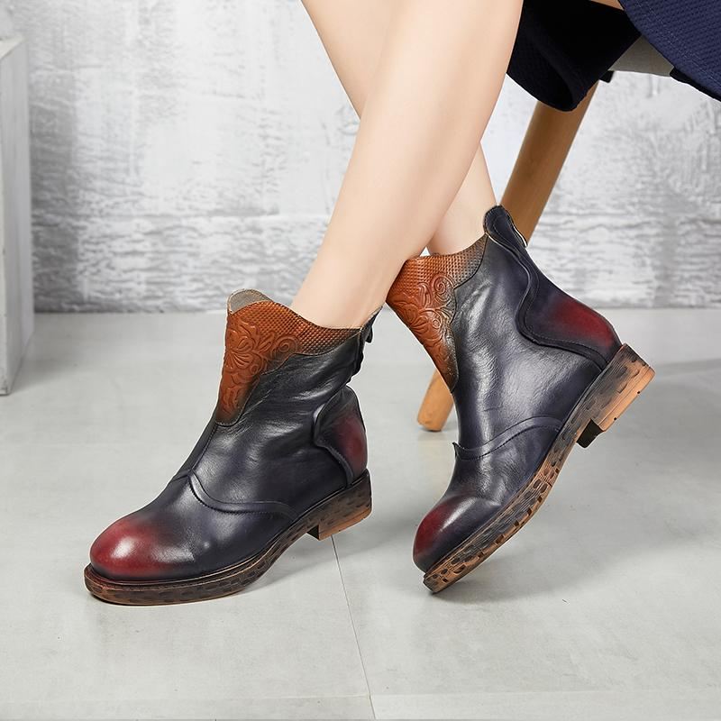Comfy Retro Handmade Splicing Flat Soft Ankle Leather Boots