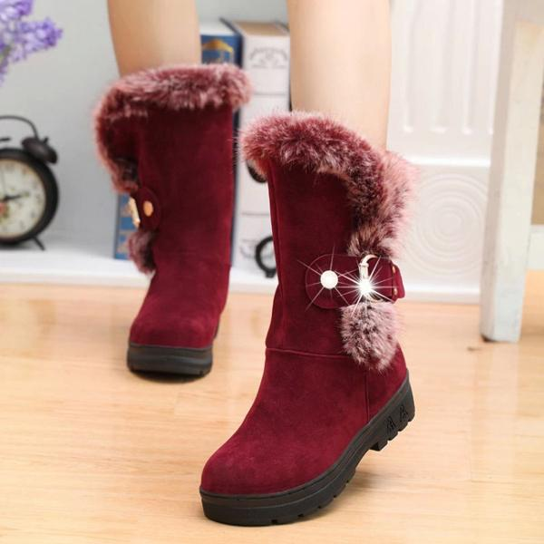 Women's Pure Color Snow Flat Boots