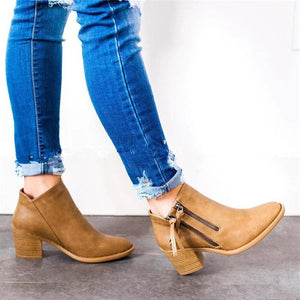 Low Heels Zippers Casual Women's Shoes