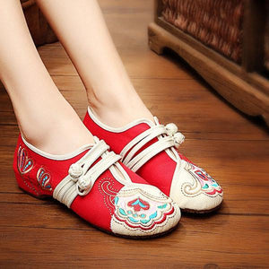 Vintage Chinese Embroidered Flower  Buckle Casual Flat Loafers