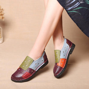 Retro Splicing Genuine Leather Color Match Hollow Out Very Soft Flat Loafers