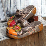 Retro Colorful Leather Hollow Out Backless Flower Shoes