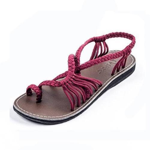 Summer Knitted Fabric Breathable Beach Flat Sandals
