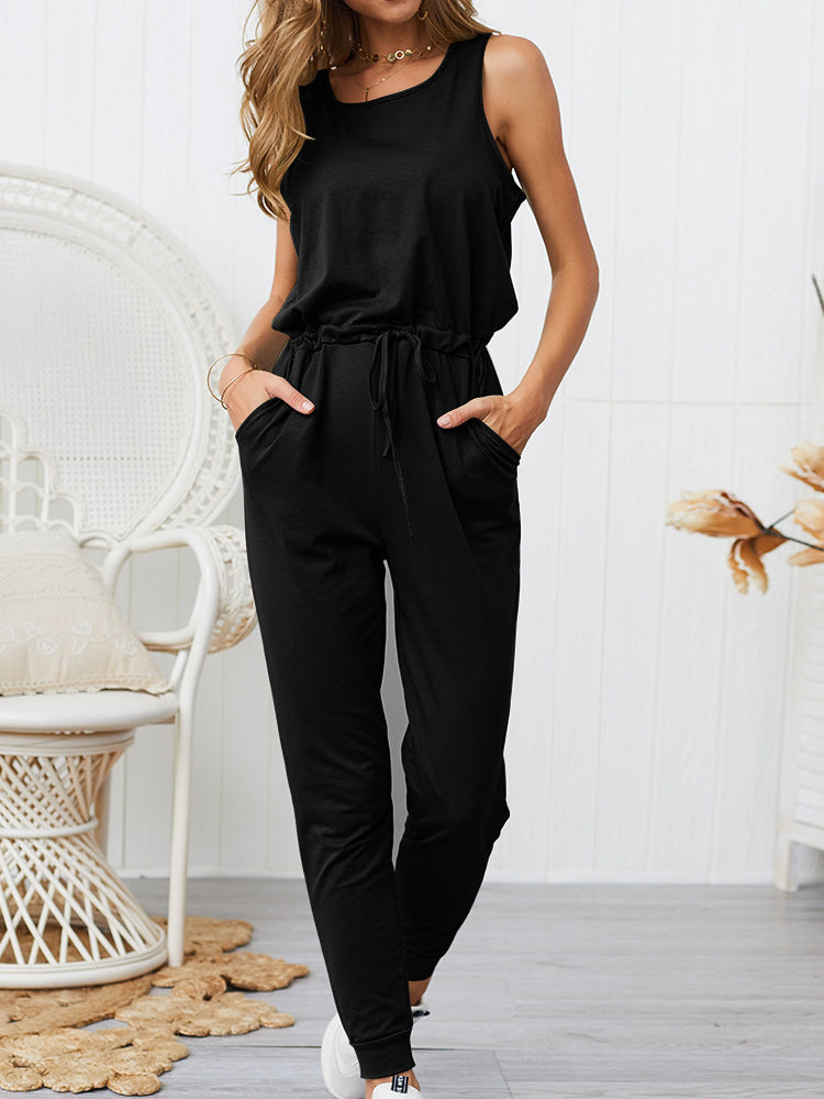 Women Solid Color Casual Crew Neck Long Pant Jumpsuits Rompers with Pockets