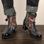Ethnic Style Retro Lace Flower Boots For Women
