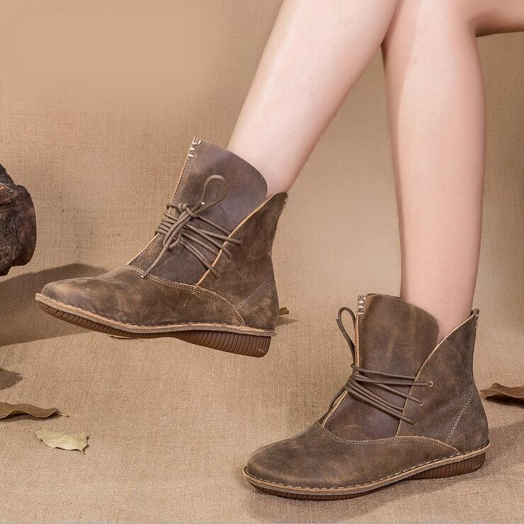 Handmade Retro Literary Style Genuine Leather Ankle Boots