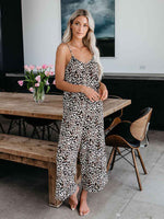 Sleeveless Leopard Jumpsuits Wide Leg Long Pants Rompers