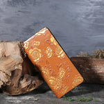 Genuine Leather Ethnic Style Hand-Painted Rose Long Wallets