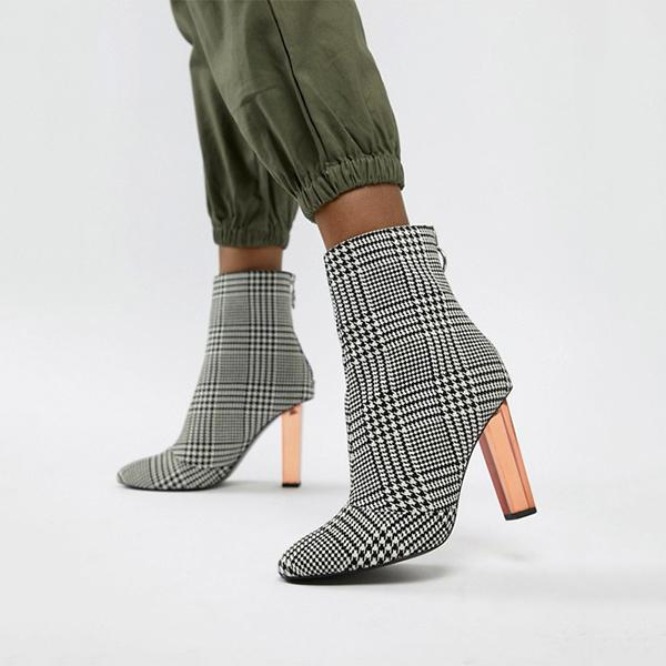 Fashion Heeled Checker Boots