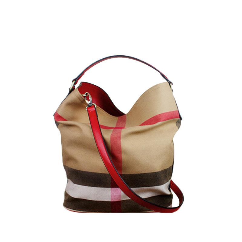 Women's Large Capacity Multi-function Checked Canvas Bags