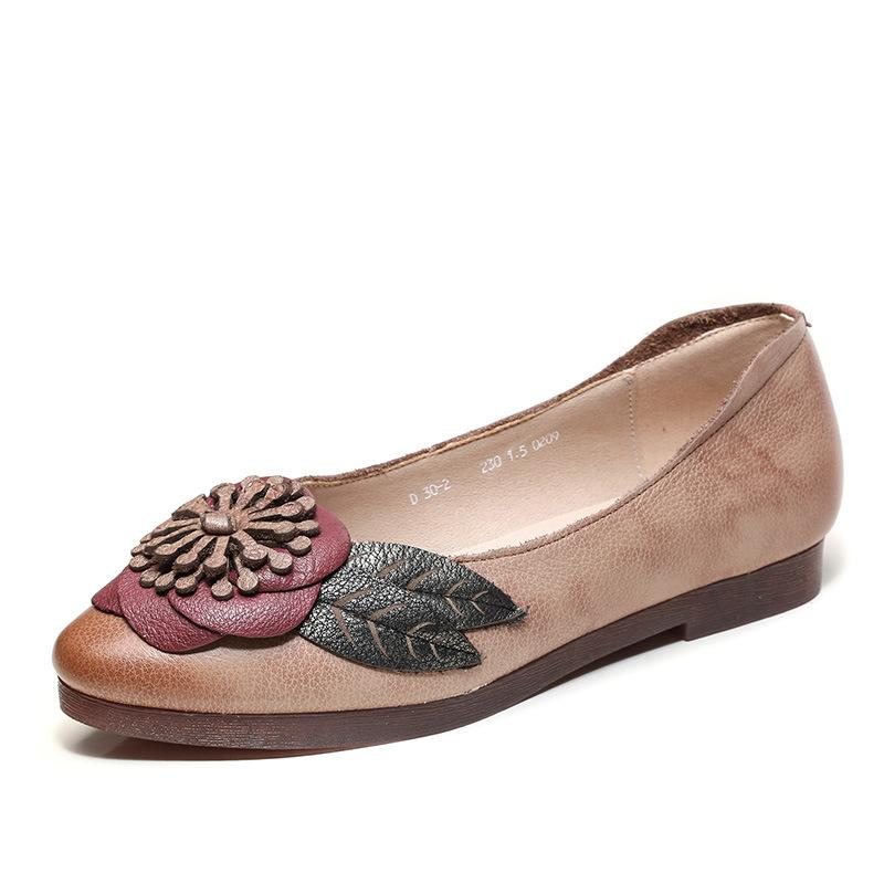New Ethnic Style Retro Leather Pointed Soft Bottom Flats