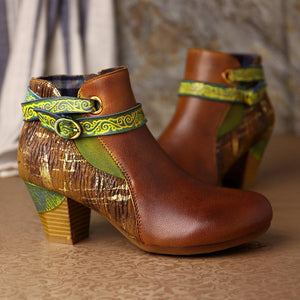 Vintage Buckle Genuine Leather Splicing Stripe Stone Pattern Embossed Brush Gold Zipper Boots