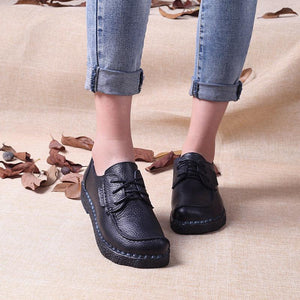 Handmade Leather Round Head Casual Shoes