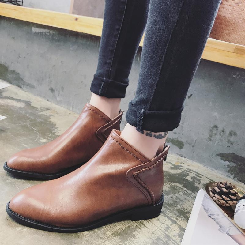 Comfy Genuine Leather  Pure Color Zipper Ankle Boots