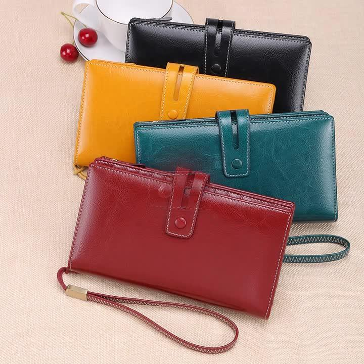 Women's Fashion Genuine Leather Zipper Long Wallet